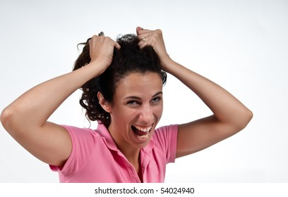 angry woman pulling her hair out
