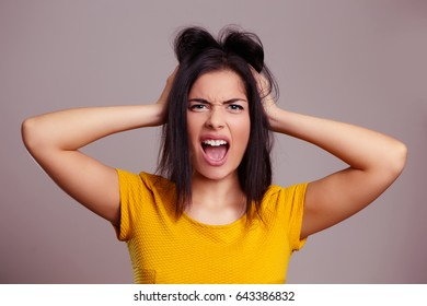 Angry Woman Screaming Isolated