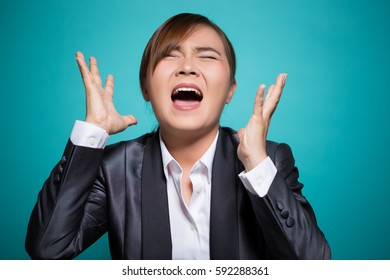 Angry woman screaming out