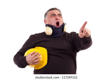 Angry worker pointing at something and screaming. White background