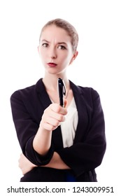 Angry working woman, teacher, executive, in white background