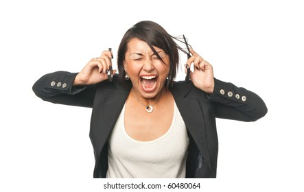 Angry young businesswoman screaming at two mobile phones