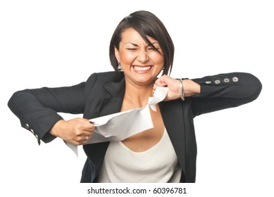 Angry young businesswoman tearing paper