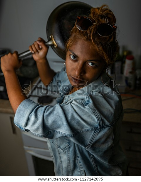 Angry Young Indian Woman Girl Threatening Stock Photo Edit Now