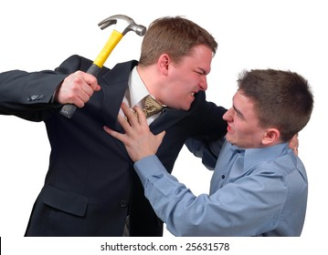 Angry young man in a business suit attacking a frightened young man in a dress shirt with a hammer.