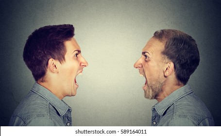 Angry young man screaming at old himself