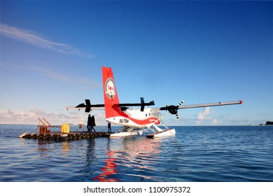 ANGSANA VELAVARU MALDIVES - A double propeller seaplane called Trans Maldivian is accompany their passenger to Angsana Velavaru resort on October 2015