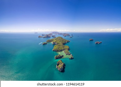Angthong National Marine Park in the Gulf of Thailand Aerial Drone View with copy space Archipelago of islands in Southern Thailand Ang Thong Islands