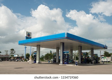 ANGTHONG, THAILAND - Aug 08, 2018 : PTT Gas Station on Aug 08, 2018 in Thailand. PTT is a Thai state-owned SET-listed oil and gas company  in Thailand.