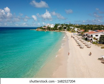 Anguilla, Caribbean beach landscape, from above, drone