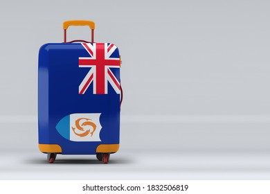Anguilla national flag on a stylish suitcases on color background. Space for text. International travel and tourism concept. 3D rendering.