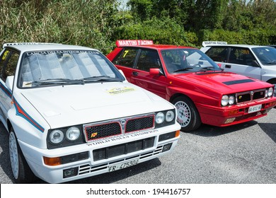 ANGUILLARA SABAZIA, LAZIO, ITALY - APRIL 6, 2014: Many Lancia Delta vintage rally cars joined with the occasion of the 11-th meeting of spring memorial Luciano Polverari.