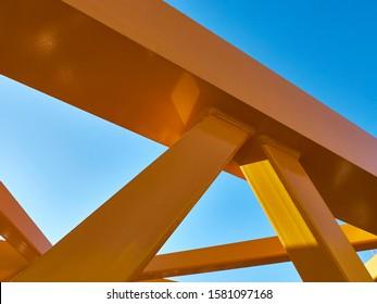 Angular connection of several iron beams. Tower crane parts