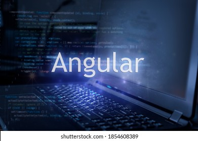 Angular inscription against laptop and code background.  Learning angular programming language.