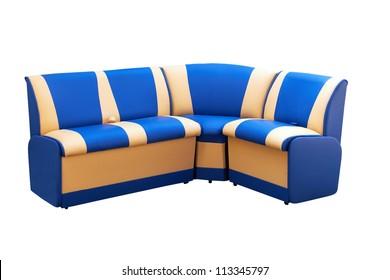 angular leather sofa isolated on a white