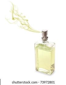 Angular perfume for men spraying beautiful scent.