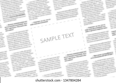 Angularly shot black and white newspaper with copy space in the middle. Written words Sample Text in the blank square on the blurred tabloid page background. Designer mockup for paper news page. Type