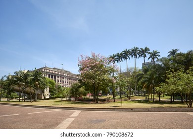 Anhangabau valley in downtown of Sao Paulo city.