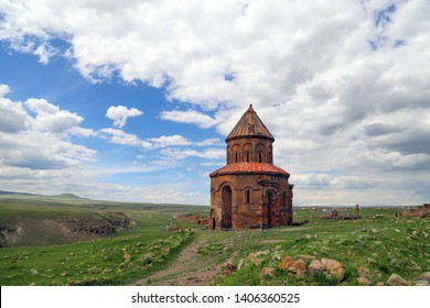 Ani site of historical cities (Ani Harabeleri): first entry into Anatolia, an important trade route Silk Road in the Middle Agesand. Historical Church and temple at sunset in Ani, Kars, Turkey.