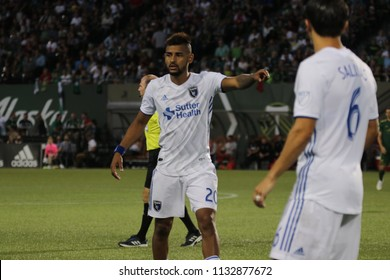 Anibal Godoy midfielder for the San Jose Earthquakes FC at Providence Park in Portland Oregon USA July 7,2018.