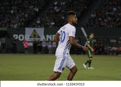 Anibal Godoy midfielder for the San Jose Earthquakes at Providence Park in Portland Oregon USA July 7,2018.