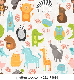 Animal background with cute bird, alligator, dog, hen, rabbit, owl, zebra, vole, wolf, unicorn, lion, koala, monkey, giraffe, panda and cat. Zoo love seamless pattern isolated on hand drawn background