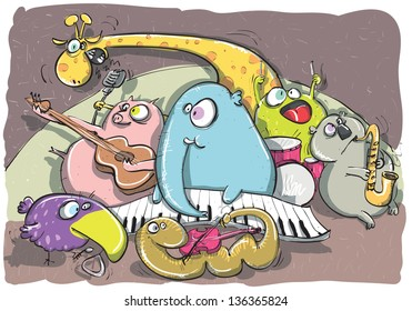 The Animal Band hand drawing. (for vector see image 91311362)