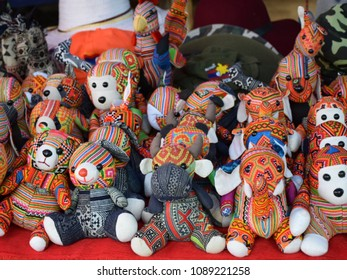 Animal dolls made from cloth are sold in the local market in Luang Prabang, Laos.