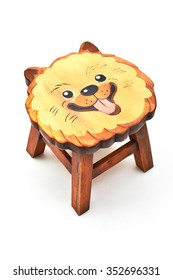 Animal face wooden stool isolated