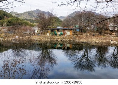 An animal farm house in Geumpyeong Reservoir Park and surrounding nature. Geumpyeong reservoir is located in Gimje, Jeollabukdo province, South Korea