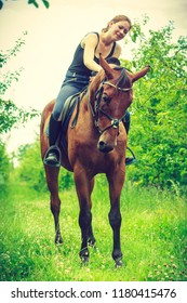 Animal, horsemanship concept. Young woman sitting on horse and leaning out of it