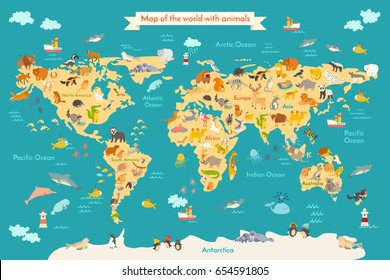 World map animals world map beautiful vector de stock373172002 animal map for kid world poster for children cute illustrated preschool cartoon globe gumiabroncs Gallery