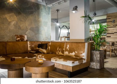 Animal printed sofa in lobby bar at winter resort