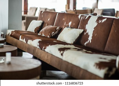 Animal printed sofa in restaurant interior