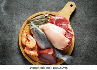 Animal protein sources - meat, fish, seafood