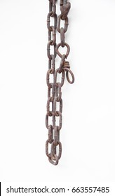 animal rusty chain on white background