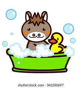 Animal Series entering the bath