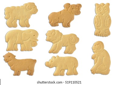 animal shaped cracker (biscuit) isolated on white background with clipping path