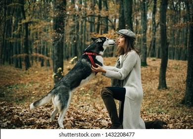 Animal training. Girl pretty stylish woman walking with husky dog autumn forest. Pedigree dog concept. Best friends. Girl enjoy walk with husky dog. Siberian husky favorite pet. Animal husbandry.