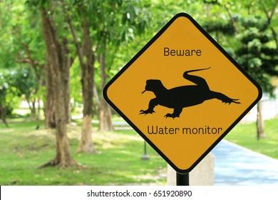 Animal warning sing, Varanus salvator in Thailand