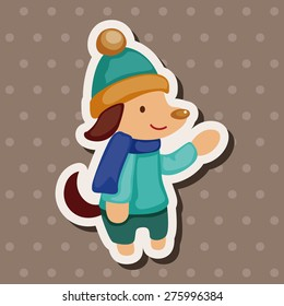 animal winter cartoon , cartoon sticker icon