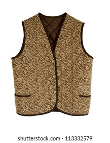An animalier padded  jacket without sleeves with buttons and brown borders isolated in white