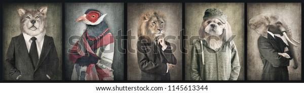 Животные в одежде. Концепт графика в винтажном стиле. Волк, Птица, Лев, Собака, Слон.
