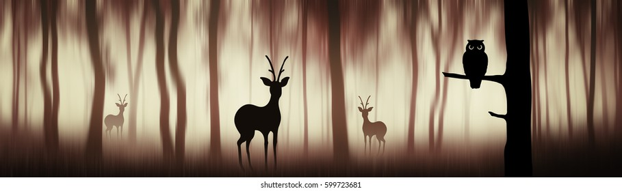Animals in forest. Creative illustration with deer and owl silhouettes in fantasy forest panorama