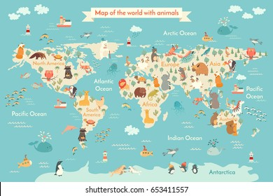 World map vector illustration inscription oceans stock vector animals world map for kid world vector poster for children cute illustrated gumiabroncs Image collections