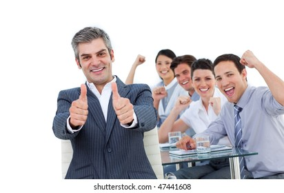 Animated business people with thumbs up against a white background