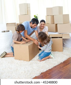Animated family packing boxes while moving house