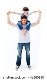 Animated father giving his son piggyback ride against a white background