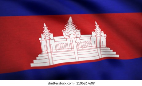 Animated flag of Cambodia - seamless loop. Cambodia Flag. Background Seamless Looping Animation. 4K High Definition Video. Flag of Cambodia. Background Seamless Looping Animation.