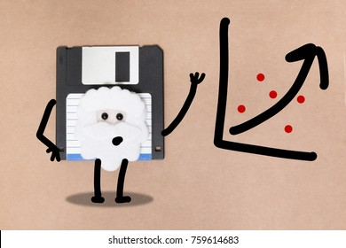 animated floppy disk concept, stick and walk figure explaining graph.